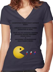 PAC MAN COMPUTER GAMES ELECTRONIC EATING PILLS BLACK Women's Fitted V-Neck T-Shirt