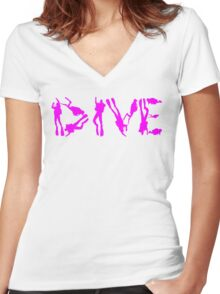 DIVE WITH DIVERS IN PINK Women's Fitted V-Neck T-Shirt