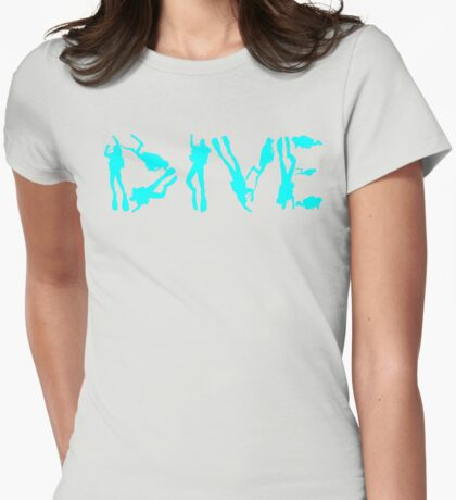 DIVE WITH DIVERS IN LIGHT BLUE Womens Fitted T-Shirt
