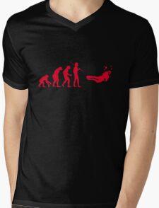 Evolution to Scuba Diver RED Mens V-Neck T-Shirt
