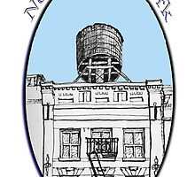 Water tower above SoHo building by James Lewis Hamilton
