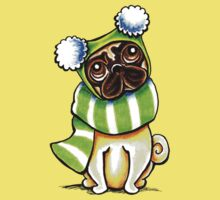 Pug Happy Scarf & Hat One Piece - Short Sleeve