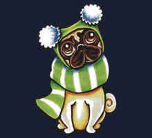 Pug Happy Scarf & Hat Kids Tee