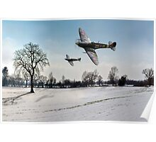 Boys will be boys: low-flying Spitfires Poster