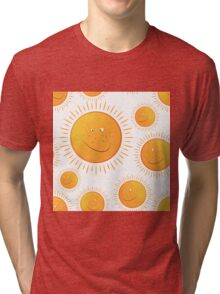 funny smiling sun in the  seamless pattern Tri-blend T-Shirt