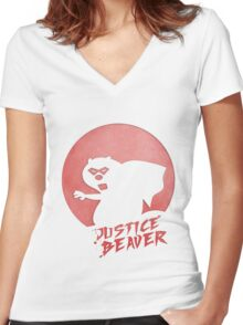 Justice Beaver Women's Fitted V-Neck T-Shirt