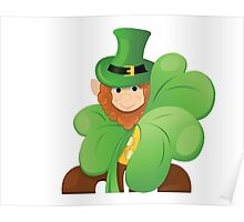 leprechaun or gnome on patrick day lurk for clover Poster