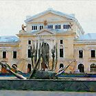A digital painting of TheTheodor Costescu Cultural Palace in Romania by Dennis Melling