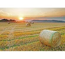 Hay bales at Sunset 2 Photographic Print