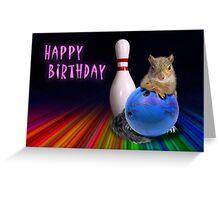 Bowling Birthday Squirrel Greeting Card