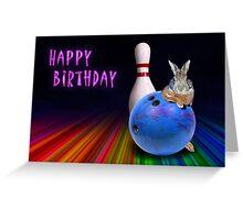 Bowling Birthday Bunny Rabbit Greeting Card
