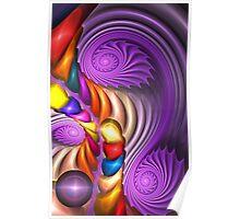 Purple Spirals, abstract fractal artwork Poster