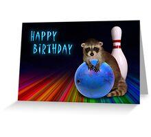 Bowling Birthday Raccoon Greeting Card