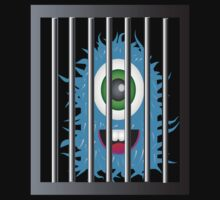 Cute blue alien creature behind bars by nadil