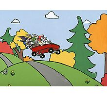 Awesome Bunny Wagon Ride Photographic Print