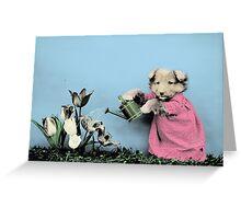 Cute Dog Watering Garden Greeting Card