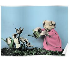 Cute Dog Watering Garden Poster