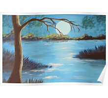 Swamp Night Time Painting Poster