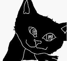 black mono kitten face by drknice