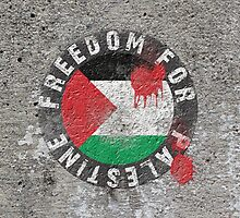 Free Palestine, with bloody Palestinian Flag by darweeshq