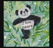 'I Love Bears' with Panda bear Kids Tee