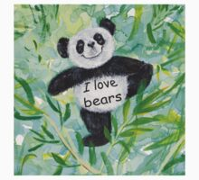 'I Love Bears' with Panda bear One Piece - Short Sleeve