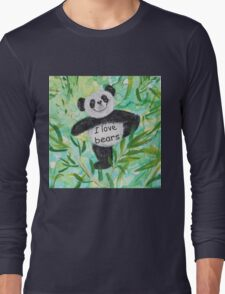 'I Love Bears' with Panda bear Long Sleeve T-Shirt