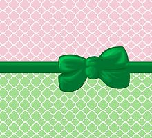 Ribbon and Bow - Quatrefoil Shape Green White Pink by sitnica