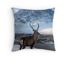 Magestic Wild Stag with Mountain Backdrop Throw Pillow