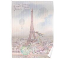 Bicycling through Paris Poster