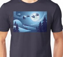 Flying Santa and Winter Forest Unisex T-Shirt