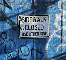 """Alien on Sign Says """"Use Other Side"""" by DangRabbit"""