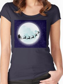 Flying Santa and Full Moon Women's Fitted Scoop T-Shirt