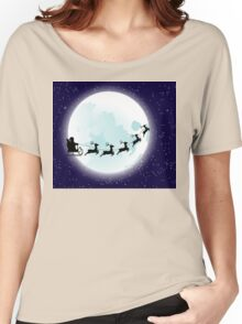 Flying Santa and Full Moon Women's Relaxed Fit T-Shirt