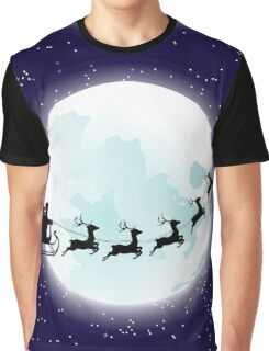 Flying Santa and Full Moon Graphic T-Shirt