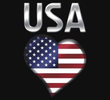 USA - American Flag Heart & Text - Metallic by graphix