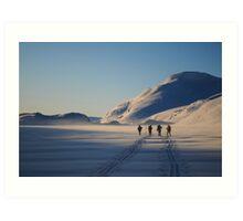 Kaldavass - Skiers in January sunrise Art Print