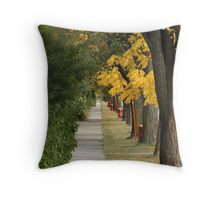 Transcona Sidewalk in Fall Throw Pillow