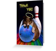 Thank You Bowling Angel Sheltie Puppy Greeting Card