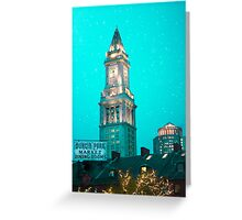 Boston City Skyline at Night Greeting Card