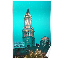 Boston City Skyline at Night Poster