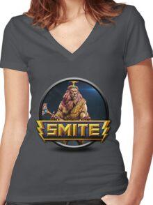 Smite Anhur Logo Women's Fitted V-Neck T-Shirt
