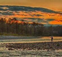 Sunset Fishing the Skykomish River by Jim Stiles