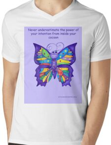 Yoga Butterfly in Namaste (purple background inspirational text) Mens V-Neck T-Shirt