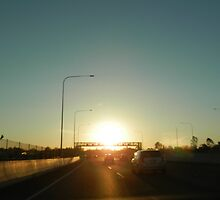 Setting Sun on the Freeway by FangFeatures