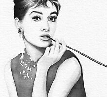 Audrey Hepburn Watercolor Portrait by OlechkaDesign