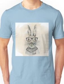 Cute funny watercolor bunny with glasses and scarf hand paint Unisex T-Shirt