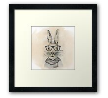 Cute funny watercolor bunny with glasses and scarf hand paint Framed Print