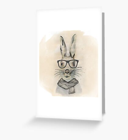 Cute funny watercolor bunny with glasses and scarf hand paint Greeting Card