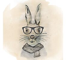 Cute funny watercolor bunny with glasses and scarf hand paint Photographic Print